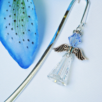 Crystal Angel Bookmark, Sapphire Blue Angel Bookmarker, Swarovski Crystal Book Mark