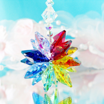Chakra Rainbow Crystal Rear View Mirror Charm Car Accessories