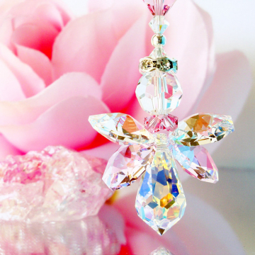 Guardian Angel Car Charm, Pink Swarovski Crystal Rear View Mirror Charm, Car Accessories