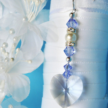 Something Blue Bouquet Charm, Swarovski Crystal Wedding Bouquet Accessories, Something Blue for Bride