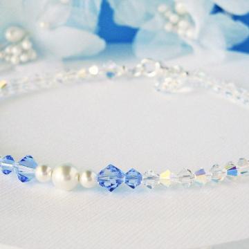 Something Blue Ankle Bracelet, Swarovski Crystal Wedding Jewelry, Something Blue for Bride