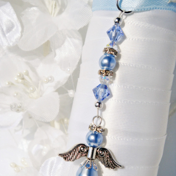 Something Blue Bouquet Charm, Angel Bridal Bouquet Charm, Swarovski Crystals and Pearls, Something Blue for Bride