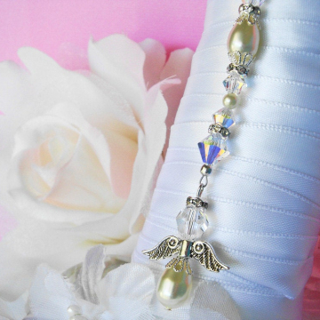 Wedding Bouquet Charm, Ivory Swarovski Crystal and Pearl Angel Bridal Bouquet Charm, Wedding Angel, Bouquet Accessories