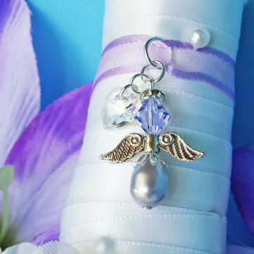 Wedding Bouquet Charm, Lavender Purple Swarovski Crystal and Pearl Angel Bouquet Charm, Bouquet Accessories