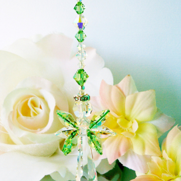 Crystal Suncatcher, Green Guardian Angel Sun Catcher, Swarovski Crystal