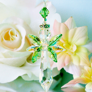 Crystal Suncatcher Green Guardian Angel Sun Catcher