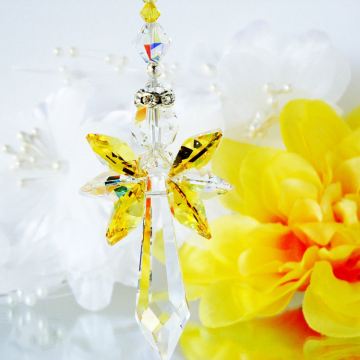 Crystal Suncatcher, Yellow Guardian Angel Window Sun Catcher, Swarovski Crystal