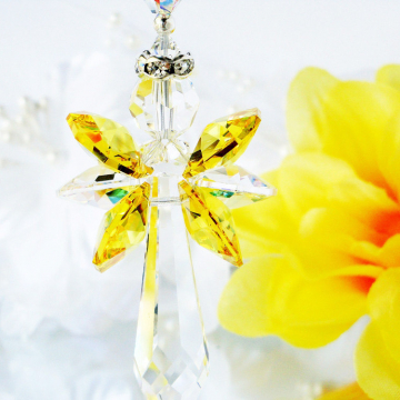 Crystal Suncatcher Yellow Guardian Angel Window Sun Catcher