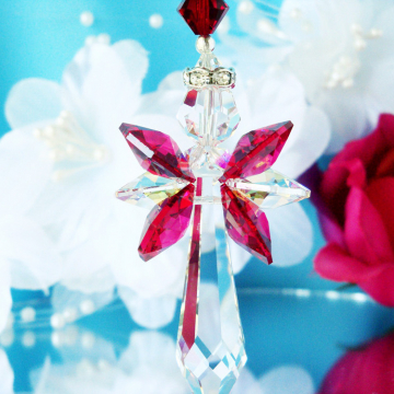 Red Guardian Angel Crystal Suncatcher Home Decor
