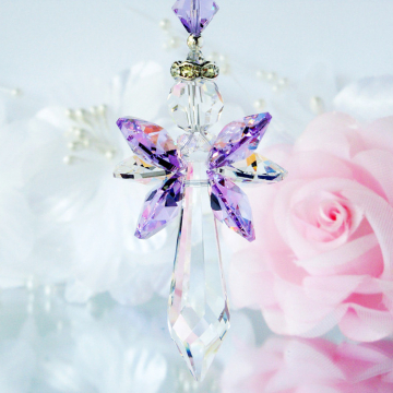 Guardian Angel Suncatcher, Purple Little Girls Room, Swarovski Crystal Baby Girl Nursery Decor