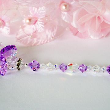 Guardian Angel Suncatcher Purple Little Girls Room Swarovski Crystal Baby Girl Nursery Decor