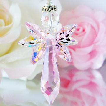 Crystal Suncatcher Guardian Angel Pink Little Girls Room Nursery Decor