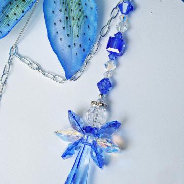Angel Car Mirror Charm Blue Crystal Car Accessories