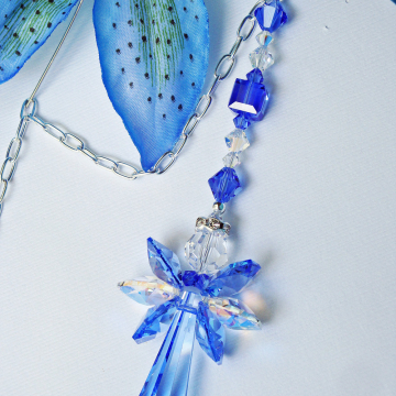 Angel Car Mirror Charm, Blue Swarovski Crystal Car Accessories, Rear View Mirror Charm