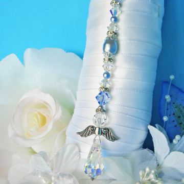 Something Blue Angel Bouquet Charm, Swarovski Crystal Wedding Bouquet Charm, Something Blue for Bride