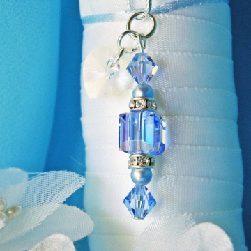 Something Blue Wedding Bouquet Charm, Swarovski Crystal Wedding Accessories, Something Blue for Bride