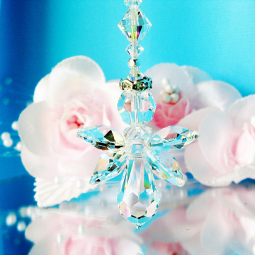 Guardian Angel Rear View Mirror Charm, Swarovski Crystal Car Mirror Accessories