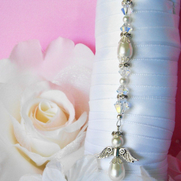 White Wedding Bouquet Charm, Angel Bridal Bouquet Charm, Swarovski Crystals and Pearls