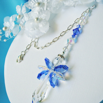 Guardian Angel Car Charm Blue Swarovski Crystal Rear View Mirror Accessories