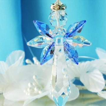 Guardian Angel Car Charm Blue Swarovski Crystal Rear View Mirror Accessories