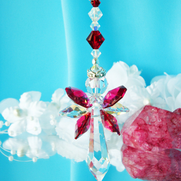 Red Crystal Angel Car Charm Swarovski Crystal Rear View Mirror Charm