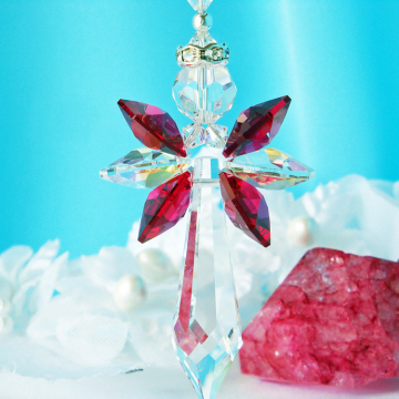 Red Crystal Angel Car Charm, Swarovski Crystal Rear View Mirror Charm