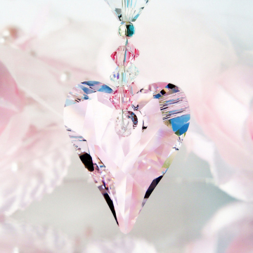 Pink Rear View Mirror Charm Swarovski Crystal Suncatcher