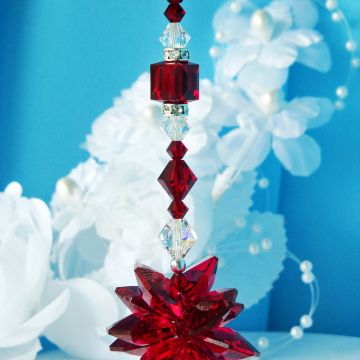 Crystal Suncatcher Rear View Mirror Charm Red Swarovski Crystals