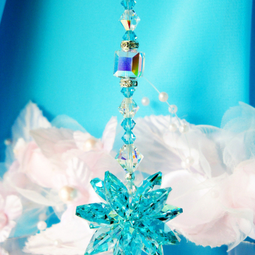 Rear View Mirror Charm Turquoise Blue Swarovski Crystal Suncatcher