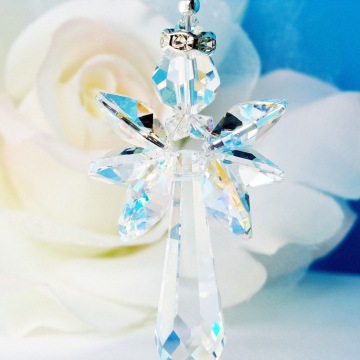 Guardian Angel Rear View Mirror Charm, Swarovski Crystal Suncatcher Car Charm