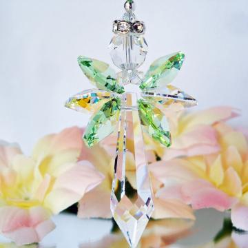 Guardian Angel Car Mirror Charm, Green Rear View Mirror Charm, Swarovski Crystals