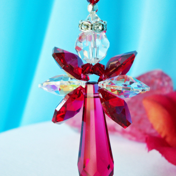 Angel Car Charm Red Swarovski Crystal Rear View Mirror Accessories