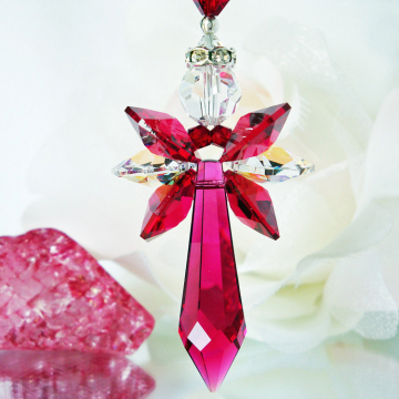 Guardian Angel Car Charm Red Swarovski Crystal Rear View Mirror Accessories