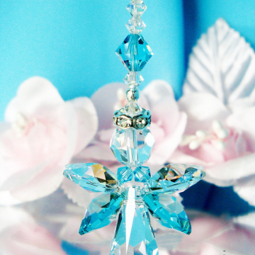 Angel Car Charm Turquoise Blue Rear View Mirror Charm