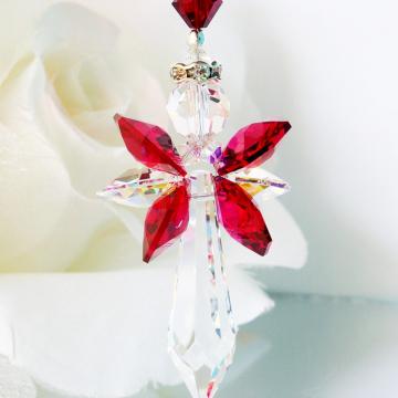 Guardian Angel Car Charm Red and Black Swarovski Crystal Rear View Mirror Charm