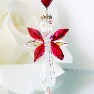 Guardian Angel Car Charm, Red and Black Swarovski Crystal Rear View Mirror Charm