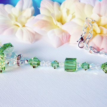 Guardian Angel Car Mirror Charm, Green Swarovski Crystal Car Accessories, Rear View Mirror Charm