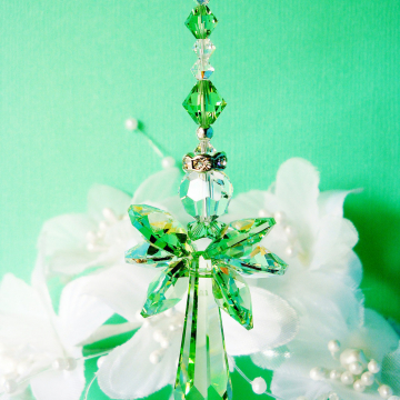 Guardian Angel Car Mirror Charm Green Swarovski Crystal Car Accessories