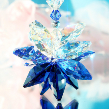 Crystal Suncatcher Rear View Mirror Charm Blue Car Ornament