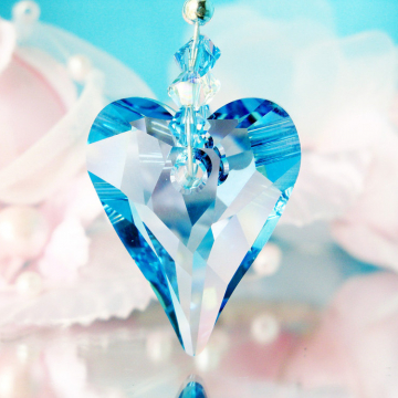 Rear View Mirror Charm Aquamarine Blue Crystal Car Charms