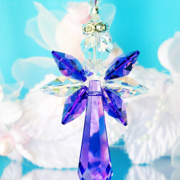 Crystal Angel Car Charm Purple Rear View Mirror Car Accessories