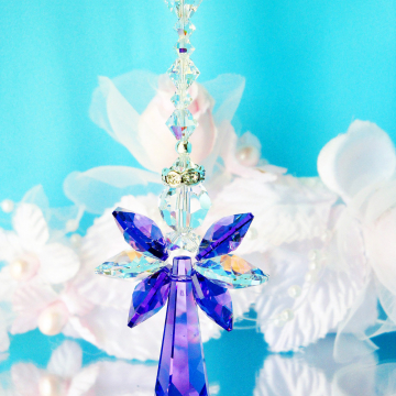 Crystal Angel Car Charm, Purple Rear View Mirror Car Accessories
