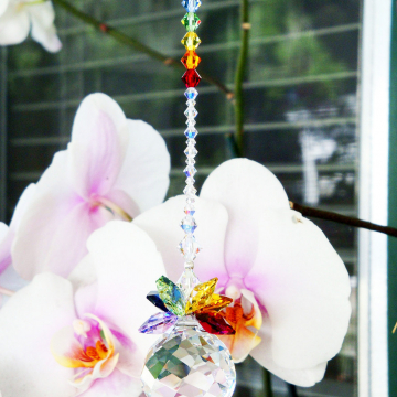 Crystal Suncatcher, Swarovski Crystals, Chakra Rainbow Crystal Sun Catcher