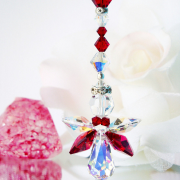 Guardian Angel Car Charm Red Crystal Car Mirror Hanger