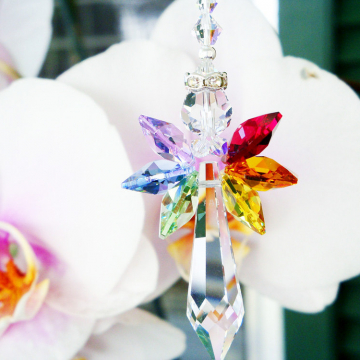 Guardian Angel Suncatcher Swarovski Crystal Car Charm Chakra Rainbow
