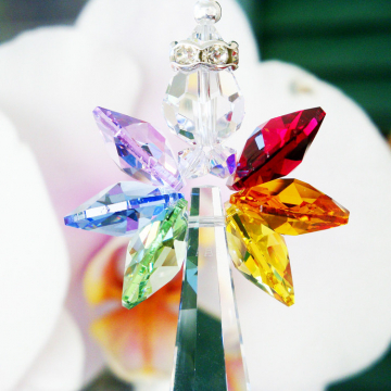 Guardian Angel Suncatcher Swarovski Crystal Car Charm Chakra Rainbow