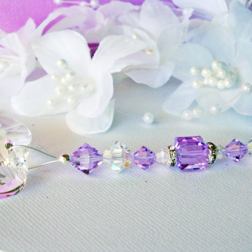 Ceiling Fan Pull Chain, Purple Swarovski Crystal Light Pulls