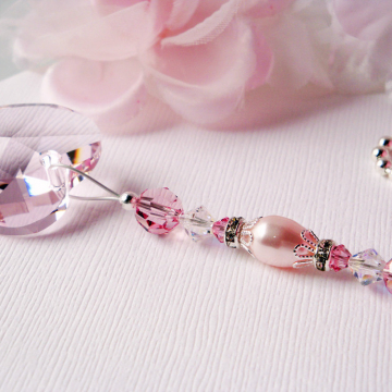 Pink Ceiling Fan Pull, Swarovski Crystal Light Pull