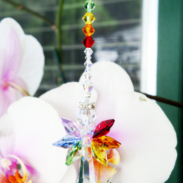 Crystal Suncatcher, Rainbow Guardian Angel Sun Catcher, Chakra Swarovski Crystals