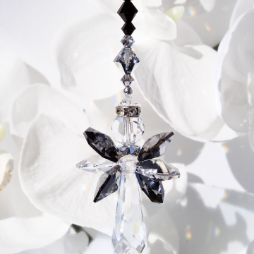 Guardian Angel Rear View Mirror Charm Black and Silver Swarovski Crystal